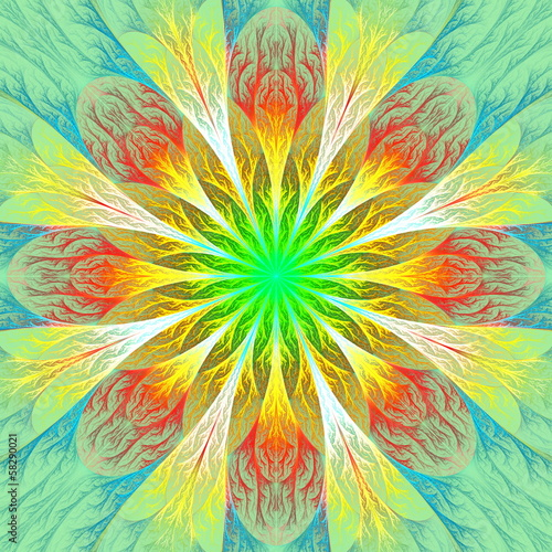 canvas print picture Beautiful fractal flower in green and yellow. Computer generated