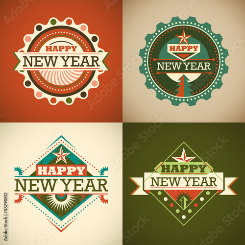 Retro New Year stickers.