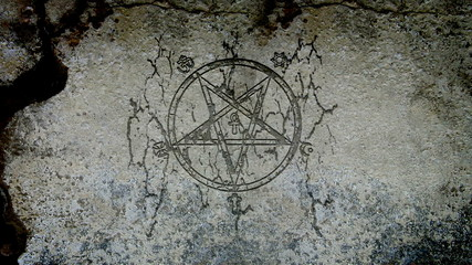 Evil symbol appearing on a wall
