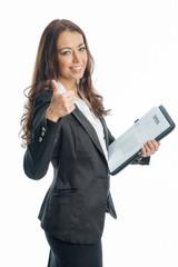 Geschäftsfrau mit Arbeitsvertrag