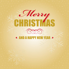 merry christmas happy new year gold schnee karte