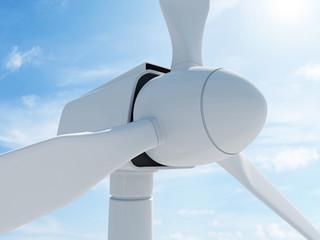 Modern Wind Turbine on beautiful clouds background with sun