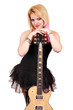 beautiful blonde girl with electric guitar posing