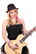 beautiful girl with electric guitar