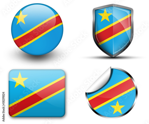 Congo flag button sticker and badge