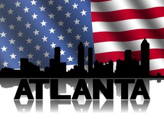 Atlanta skyline and text reflected American flag illustration