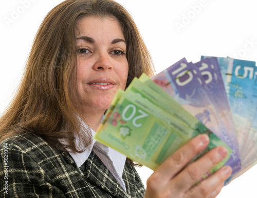 Woman Enjoying Money