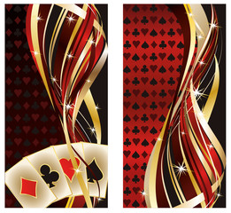 Two casino banners with poker elements, vector