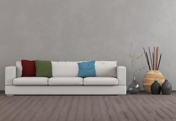 Sofa mit bunten Kissen