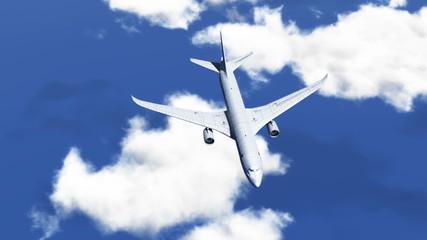 HD - Airplane in Sky. Bird's-eye view