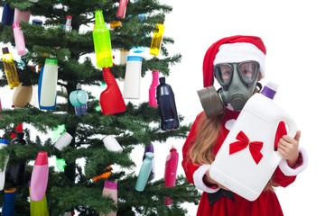Plastic waste christmas - environmental concept