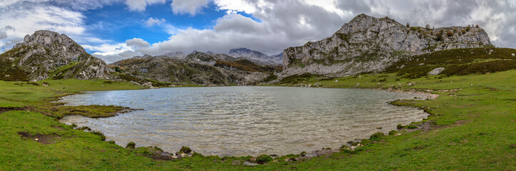 Panoramic of the Ercina lake from water level in Asturias, Spain