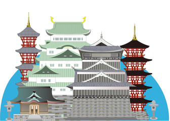 Japanese Old castles and shrines 日本のランドマーク