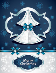 Christmas Tree from paper with bows snowflakes silver dark blue