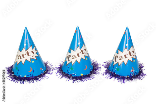 Close-up of three party hats in a row