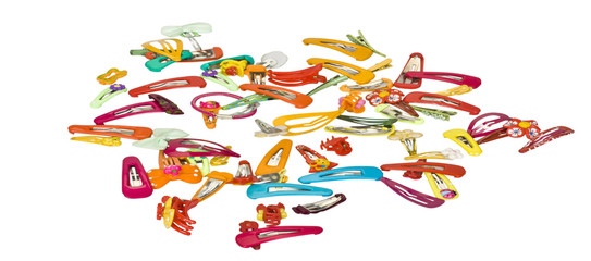 Close-up of assorted hair clips and headbands
