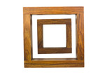 Close-up of two empty wooden frames