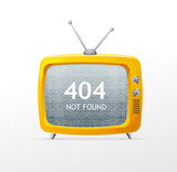 Tv retro cartoon style 404 error concept
