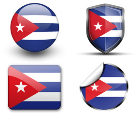 Cuba flag button sticker and badge