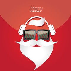 Vector Hipster santa poster for party or greeting card.