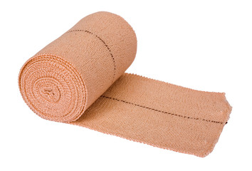 Close-up of a rolled-up bandage