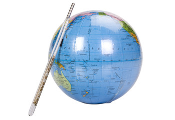 Close-up of a globe with a thermometer