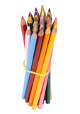Bundle of colored pencils tied with an elastic band