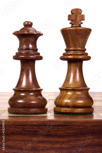 Close-up of a king and a queen chess pieces