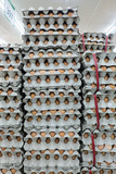 Stacked of eggs for wholesale at the market