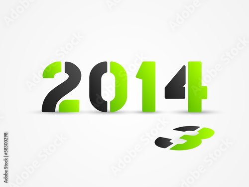 new year 2014 green poster