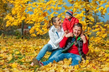 Family at autumn park