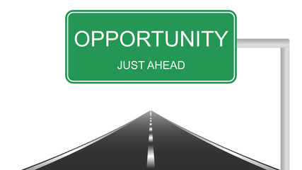 Opportunity ahead concept with a green highway sign