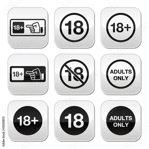 Under 18, adults only warning sign buttons