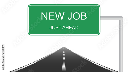 New job ahead concept with a green highway sign