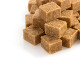 brown sugar cubes on white