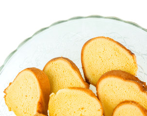 Slices of a soft chiffon cake