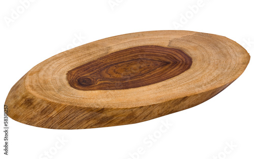 Close-up of a wooden oval disk