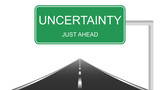 Uncertainty ahead concept with a green highway sign