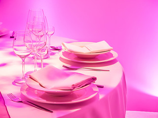 Elegant pink dinner Table