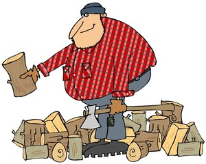 Lumberjack splitting wood