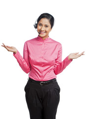 Portrait of a female customer service representative gesturing