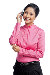 Close-up of a female customer service representative smiling