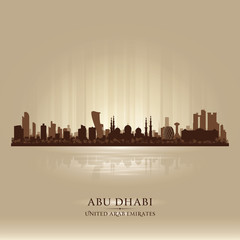 Abu Dhabi UAE city skyline vector silhouette