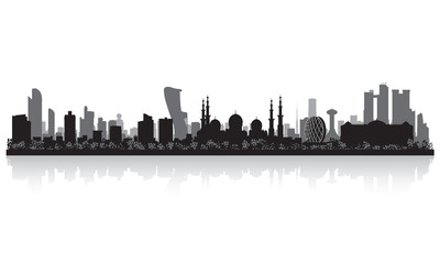 Abu Dhabi UAE city skyline silhouette