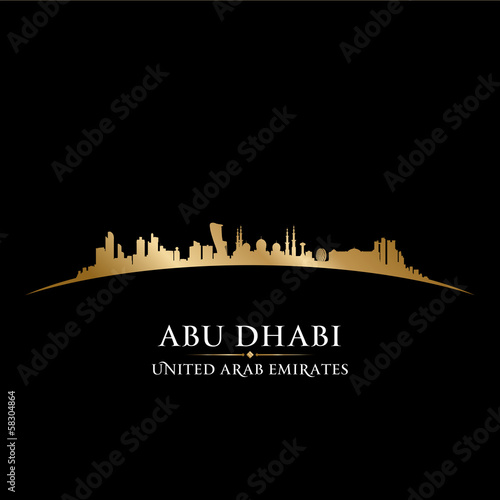 Abu Dhabi UAE city skyline silhouette black background
