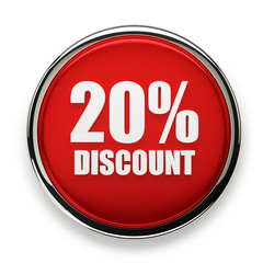 Red 20 percent discount button with silver border