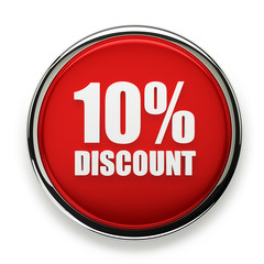 Red 10 percent discount button with silver border