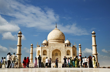 Tourists at a mausoleum, Taj Mahal, Agra, Uttar Pradesh, India