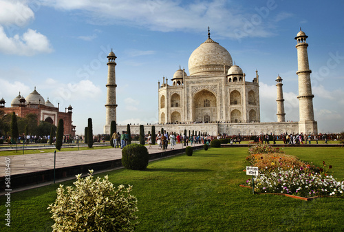 Tourists at a mausoleum, Taj Mahal, Agra, Uttar Pradesh, India
