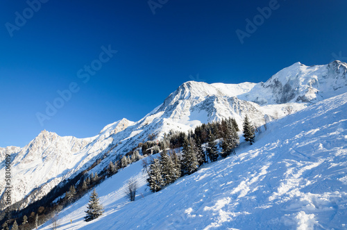 Snow hill with skiing pistes